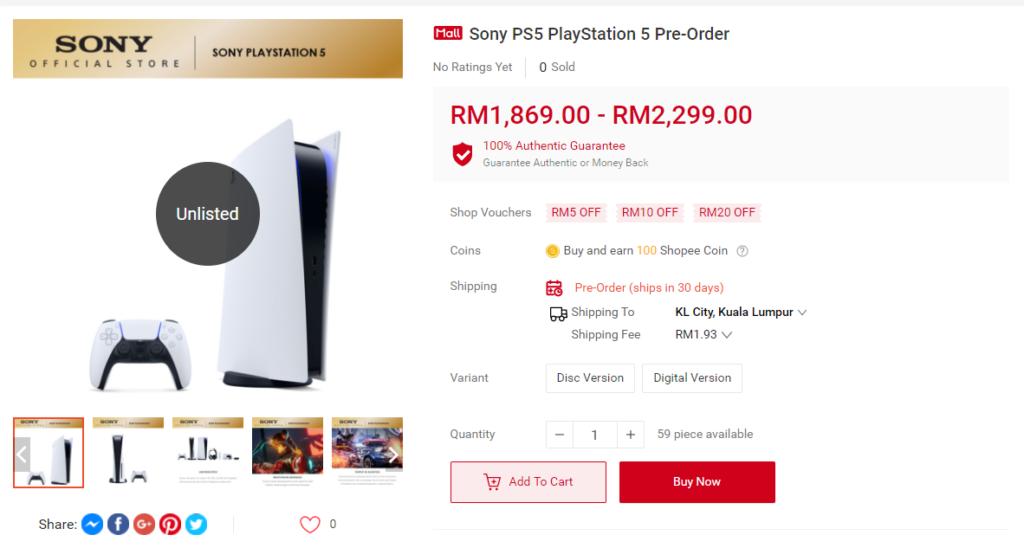 PS5于11月12日在Shopee开启预购!售价RM1869起!