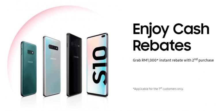 购买第二部Samsung Galaxy S10系列手机将获得RM1000折扣!