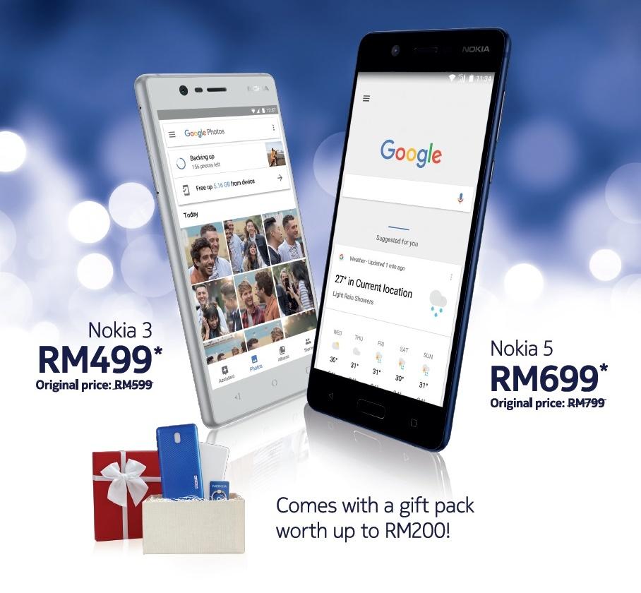 一代机皇Nokia让你以RM499与RM699购买Nokia 3和5回家过圣诞,还有高达RM200礼品赠送!