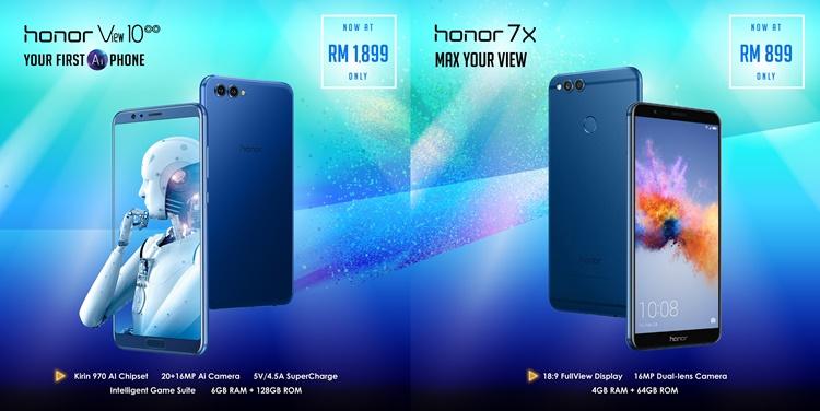 honor好消息大放送!honor View 10与honor 7X现分别以RM1899与RM899的价格发售!