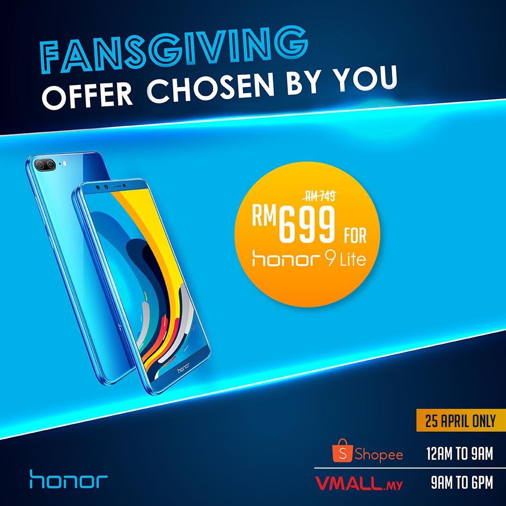 honor 9 Lite优惠又来到!4月25日网上购买只需RM699!