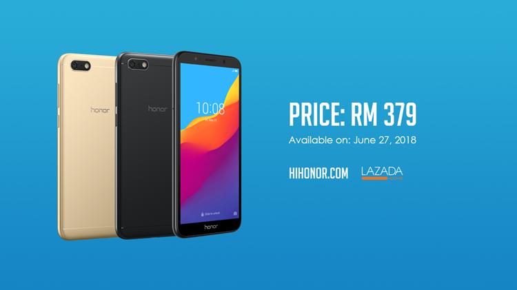 低价至RM379,honor 7S 18:9、3020mAh电池容量入门全面屏手机6月27日起正式发售!