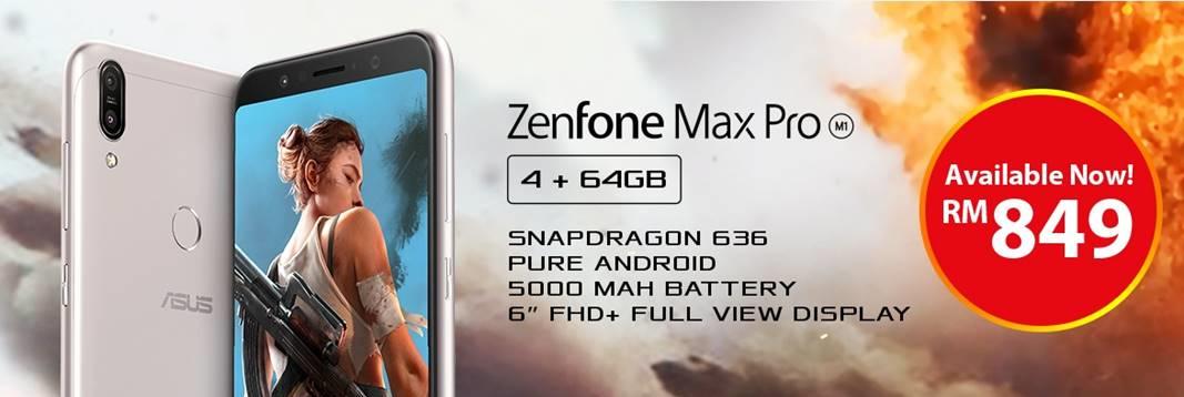 5000mAh电池容量ASUS ZenFone Max Pro M1(4GB + 64GB)现售RM849!