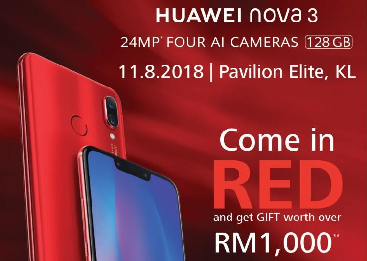 红色当道!身穿红衣买红色Huawei Nova 3让你可以得到总值超过RM1000的赠品!