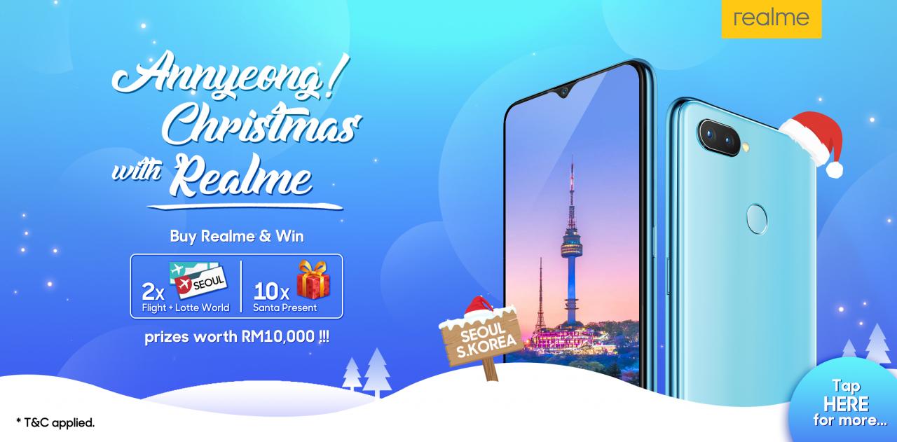 购买Realme智能手机,就有机会赢取两张前往首尔的机票!