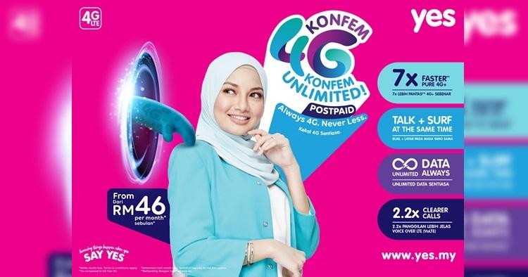 YES Mobile推出低至RM46的4G KONFEM无限上网数据后付配套!