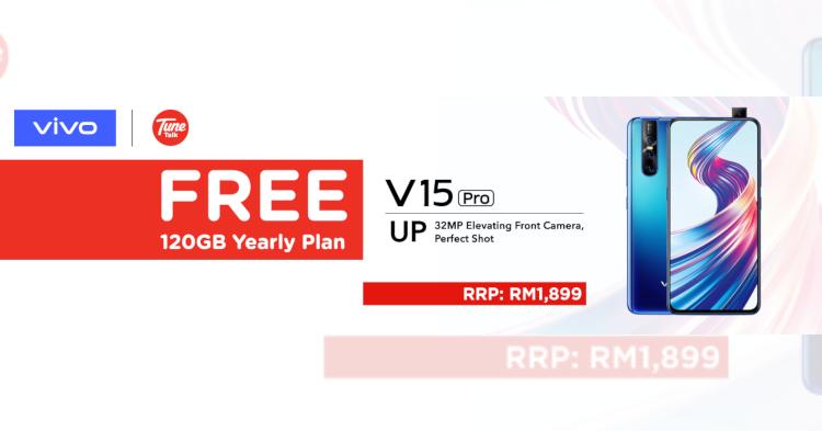 在Tunetalk购买8GB RAM版本的Vivo V15 Pro 即可享有120GB的上网配套!