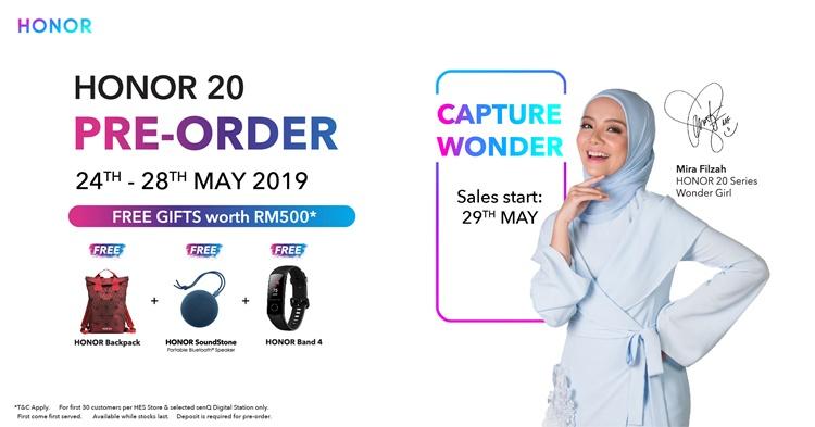 HONOR 20系列将从5月24日起开放预购!预购可免费获得价值RM500的赠品!