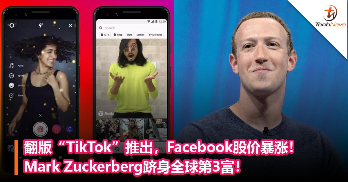 """翻版""""TikTok""""推出,Facebook股价暴涨!Mark Zuckerberg跻身全球第3富!"""