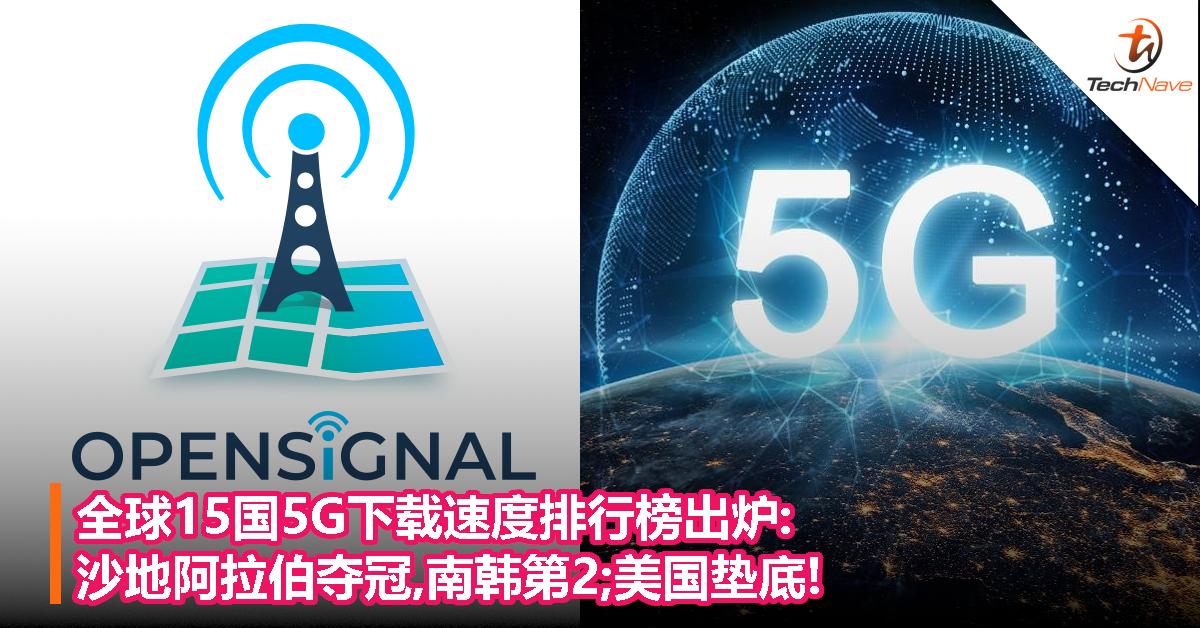 全球15国5G下载速度排行榜出炉:沙地阿拉伯夺冠,南韩第2;美国垫底!