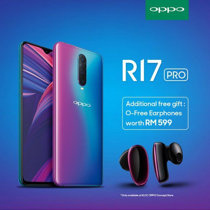 首100位购买OPPO R17 Pro的顾客,将会获得免费O-Free蓝牙无线耳机!