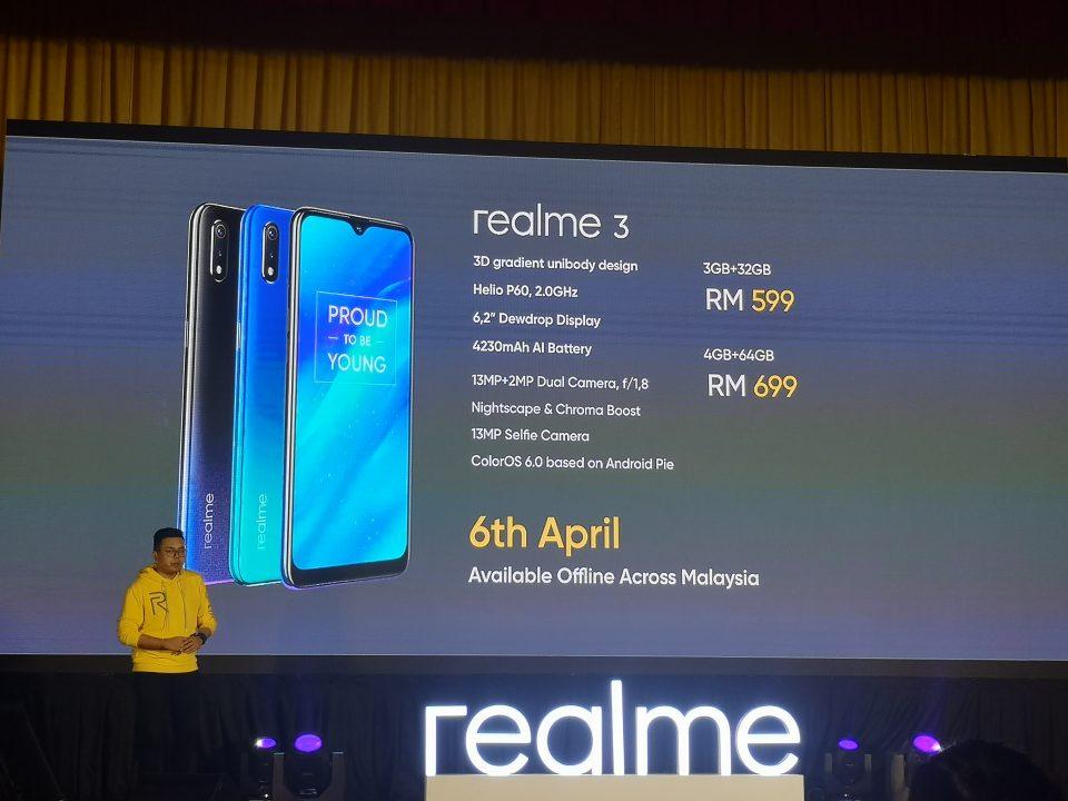 Realme 3正式发布!搭载了4230mAh大电池容量!售价从RM599起!