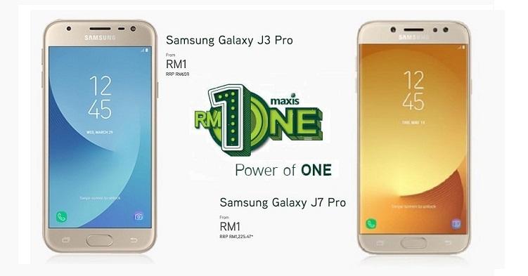 Maxis让你出RM1就能把手机带回家!只要签购MaxisONE配套,就能把Galaxy J3/J7 Pro带走!