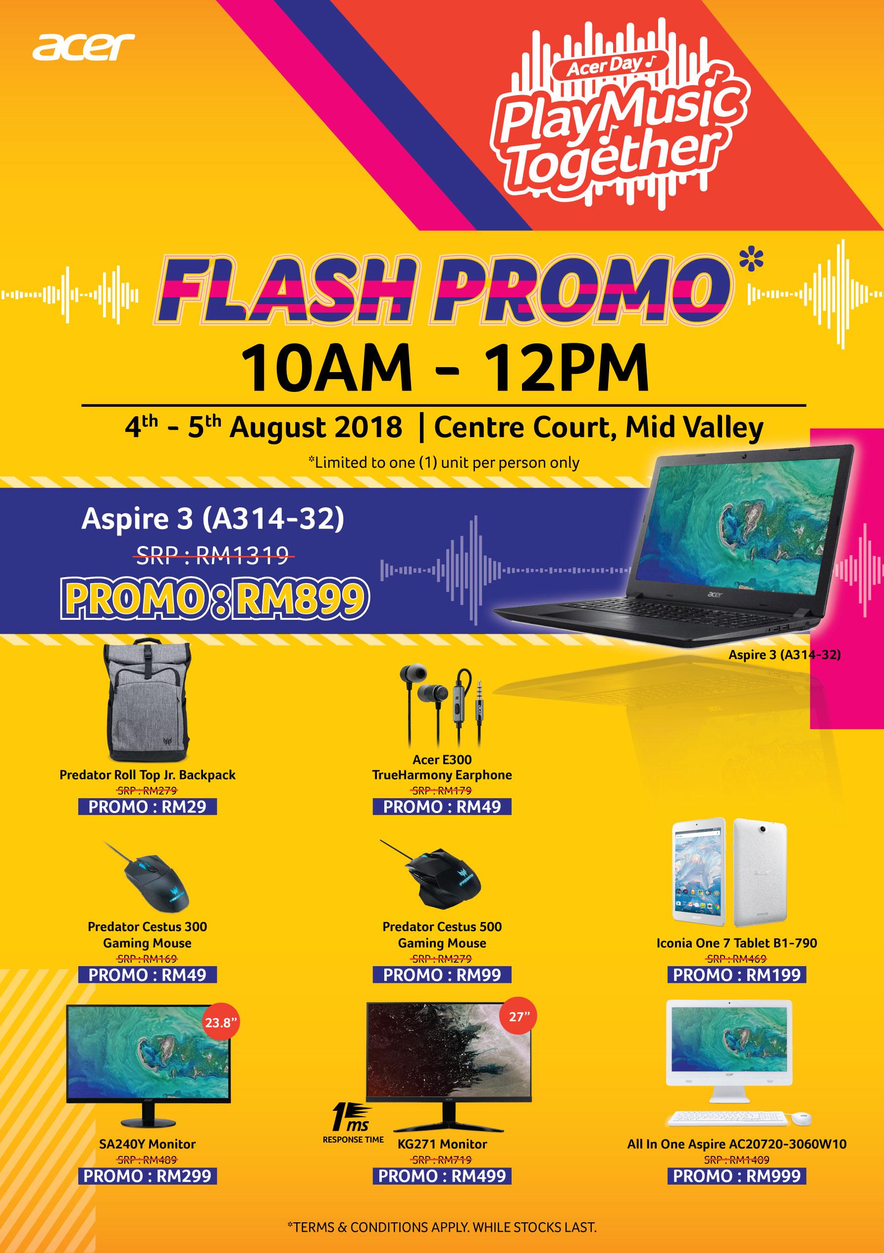 Acer邀你一同参与音乐盛会!参与Acer Day将有机会赢取多款电子产品,还有4天3夜台湾旅游!