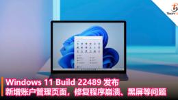 Windows 11 Build 22489发布:新增账户管理页面,修复程序崩溃、黑屏等问题!