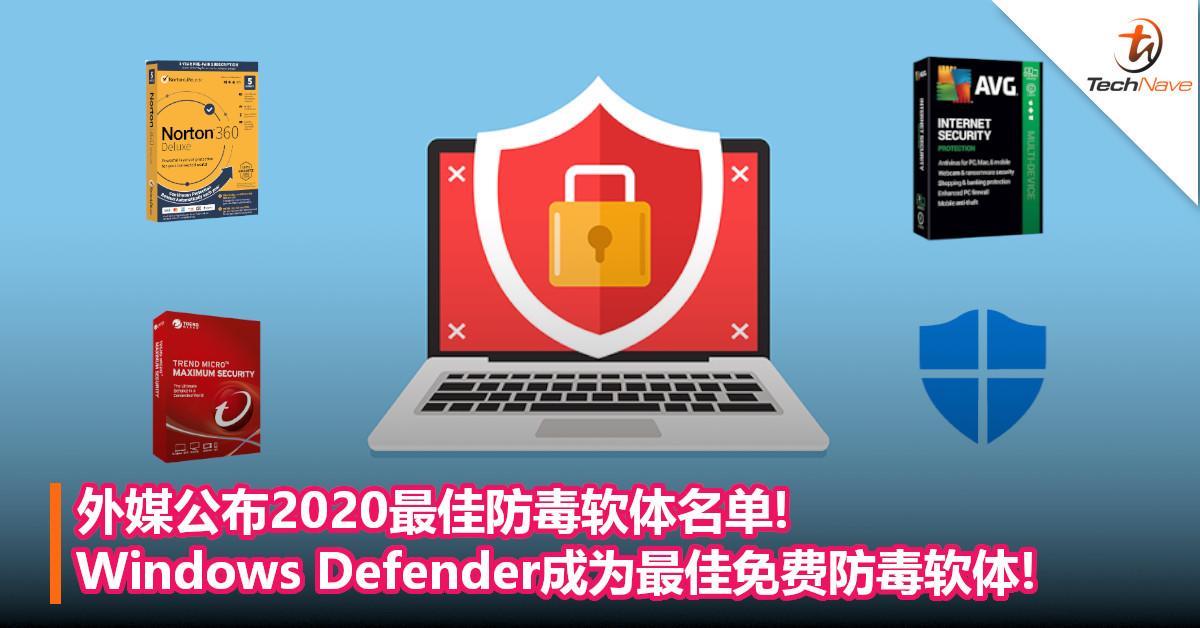 外媒公布2020最佳防毒软体名单!Windows Defender成为最佳免费防毒软体!