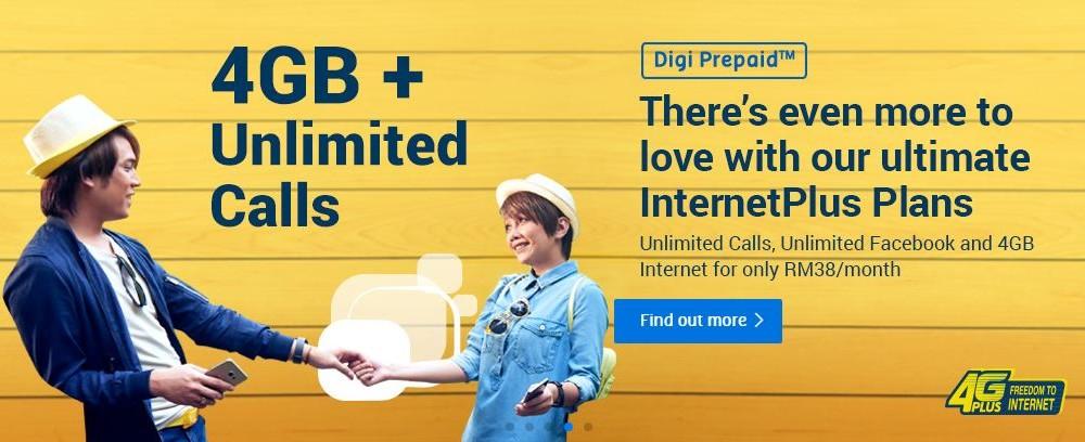 DIGI推出全新Internet Plus Prepaid配套!4 GB Data、无限通话+Facebook每月只需RM38!