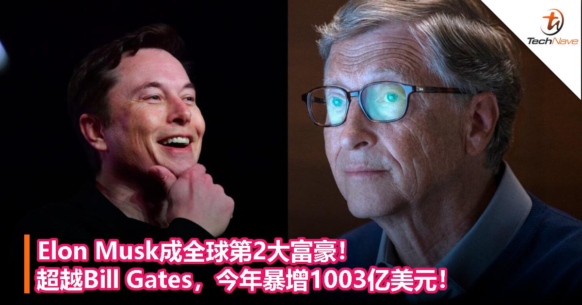 Elon Musk成全球第2大富豪!超越Bill Gates,今年暴增1003亿美元!