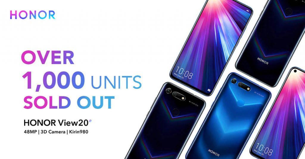 HONOR View20在首卖日当天成功卖出超过1000台的HONOR View20手机!