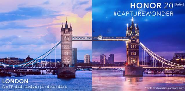 HONOR 20系列将于5月21日在英国发布!后置4摄+4000mAh+支持夜景模式?