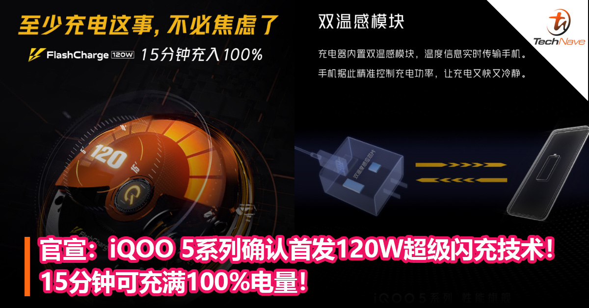 官宣:iQOO 5系列确认首发120W超级闪充技术!15分钟可充满100% 电量!