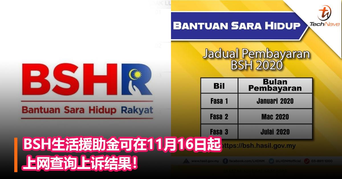BSH生活援助金可在11月16日起上网查询上诉结果!